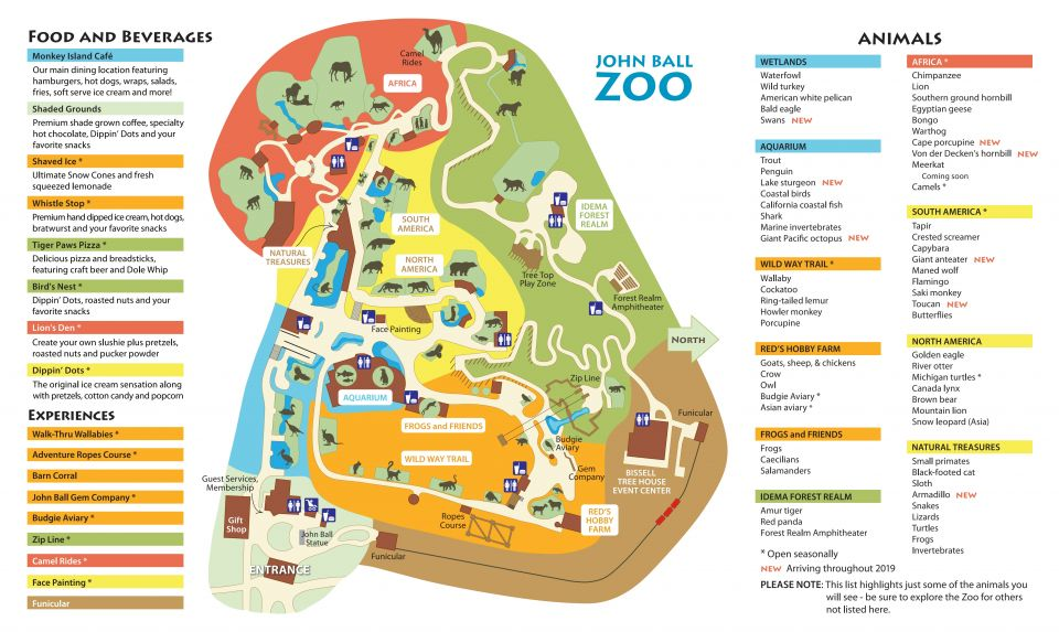 photograph about Have a Ball This Summer Printable called Zoo Map John Ball Zoo